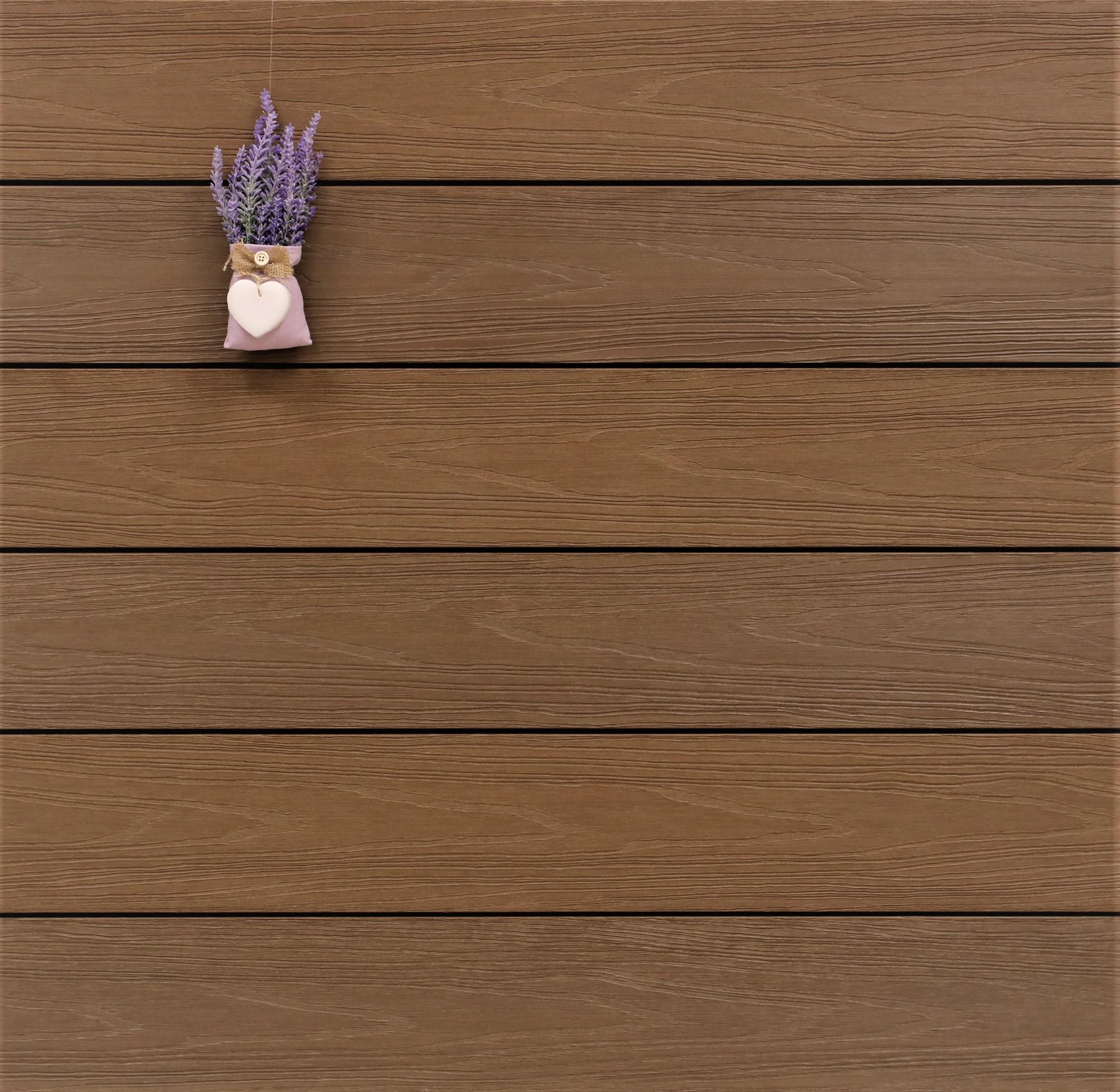 WPC Terrasse Terra, ummantelt, massiv, dunkelbraun, Oberfläche mit Struktur in Holzoptik, Premium, 22 x 143 bis 4800 mm, Vollprofil für 10,40 €/lfm