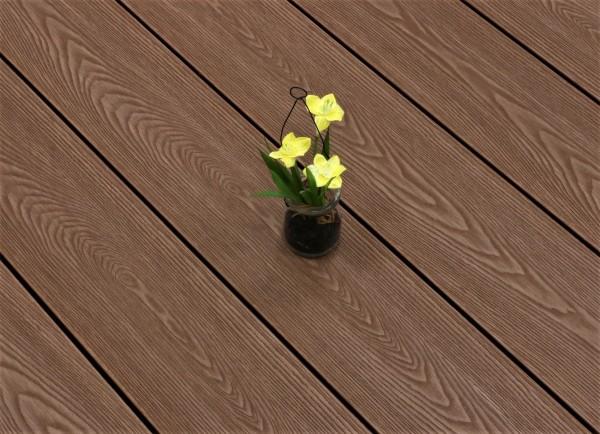 WPC Terrasse massiv, braun, Oberfläche mit Struktur in Holzoptik, 22 x 143 bis 4800 mm, Vollprofil, 7,99 €/lfm