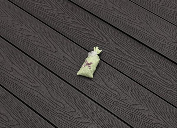 WPC Terrasse massiv, dunkelgrau, Oberfläche mit Struktur in Holzoptik sägerau, 22 x 143 bis 4800 mm, Vollprofil, 9,20 €/lfm