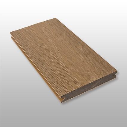 WPC Terrasse Terra massiv, dunkelbraun, Oberfläche mit Struktur in Holzoptik, ummantelt, Premium, 22 x 143 bis 4800 mm, Vollprofil, 10,40 €/lfm