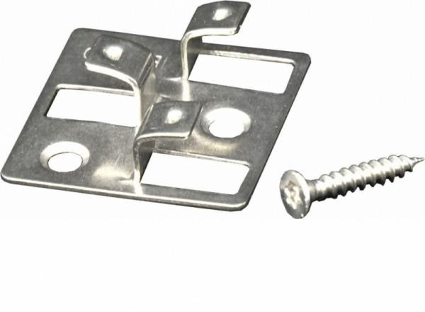 100 WPC Clips aus Edelstahl, hell, 4 mm Fugenbreite, inkl. Schrauben für die Befestigung von Gunreben Dielen, empfohlen für ca. 35 lfm bzw. 5 m²