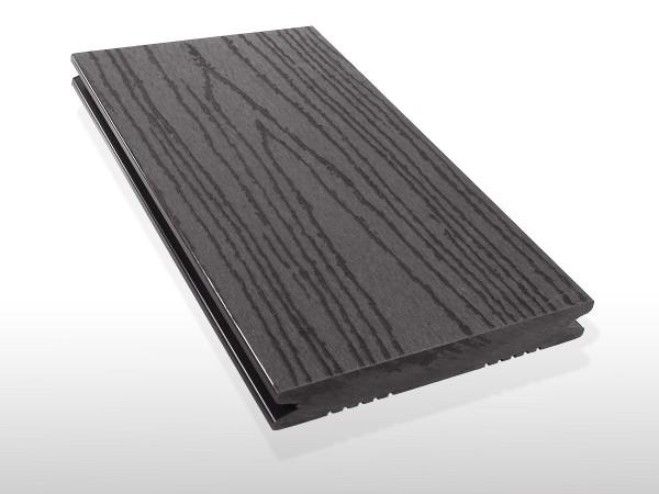 WPC Terrasse massiv, dunkelgrau, Oberfläche mit Struktur in Holzoptik, 22 x 143 bis 4800 mm, Vollprofil, 7,80 €/lfm
