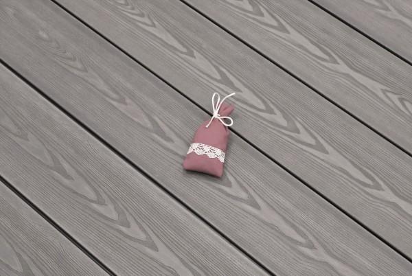 WPC Terrasse massiv, hellgrau, Oberfläche mit 3D Struktur in Holzoptik, 22 x 143 bis 4800 mm, Vollprofil, 7,95 €/lfm