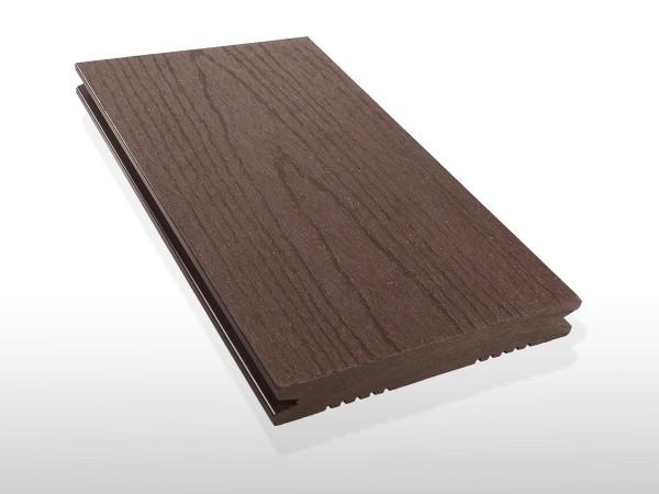WPC Terrasse massiv, dunkelbraun, Oberfläche mit Struktur in Holzoptik, 22 x 143 bis 4800 mm, Vollprofil, 7,80 €/lfm