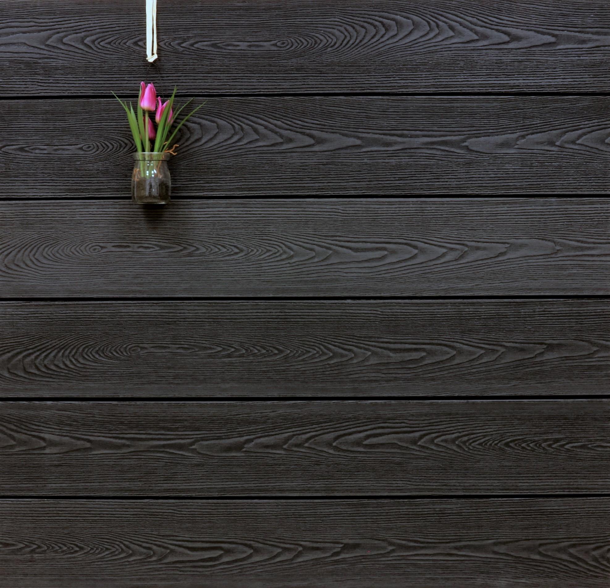 WPC Terrasse massiv, anthrazit, Oberfläche mit Struktur in Holzoptik, 22 x 143 bis 4800 mm, Vollprofil, 9,90 €/lfm