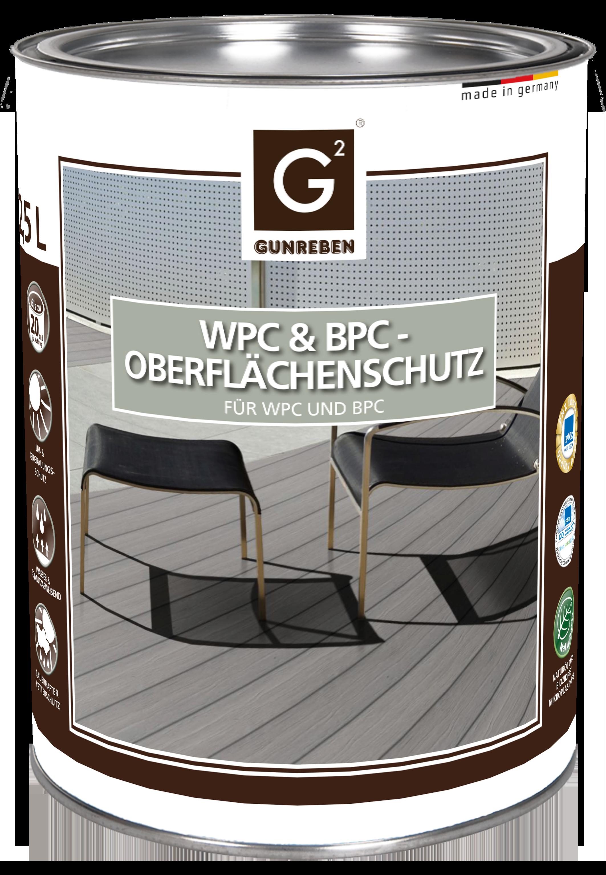 Gunreben WPC Oberflächenschutz, Kanister mit 2,5 Liter für ca. 20-40 m²